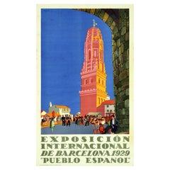 Original Vintage Poster Barcelona Exhibition Spanish Village Art Pueblo Espanol