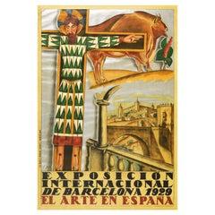 Original Vintage Poster Barcelona International Spanish Art Exhibition Espana