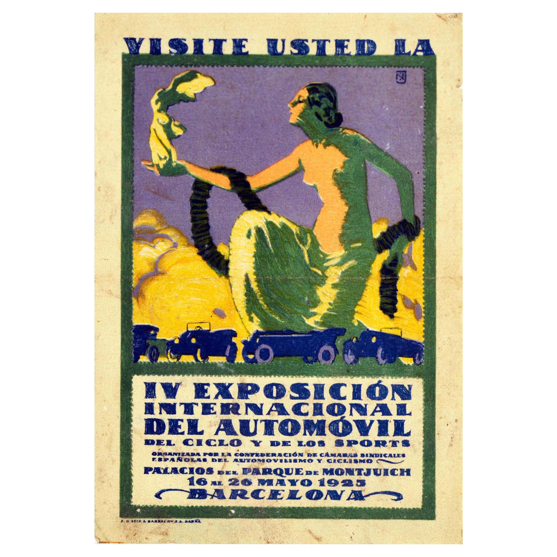 Original Vintage Poster Barcelona Motor Show Exposicion Automovil Classic Cars