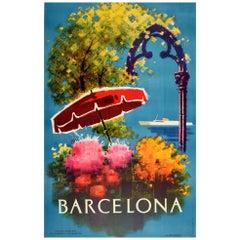 Original Vintage Poster Barcelona Spain Travel Art Flowers Ship Design Tourism