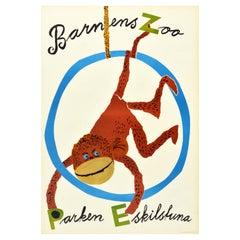 Original Vintage Poster Barnens Zoo Parken Eskilstuna Sweden Children Monkey Art