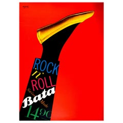 Original Vintage Poster Bata Shoes Swiss Made Rock N Roll Fashion Art Design