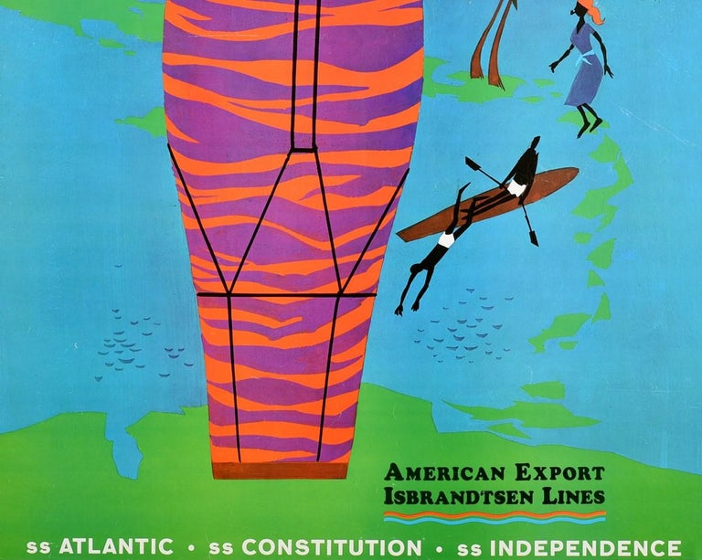 American Original Vintage Poster Beachcomber Cruises Caribbean Travel Ship Music Dancing For Sale