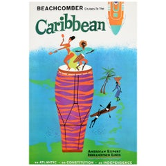 Original Vintage Poster Beachcomber Cruises Caribbean Travel Ship Music Dancing