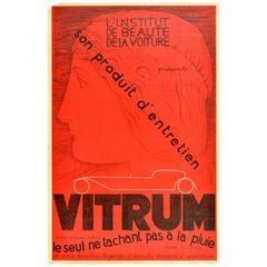 Original Vintage Poster Beaute De La Voiture Vitrum Car Beauty Salon Rain Proof