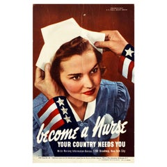Original Vintage Poster Become A Nurse Your Country Needs You WWII Uncle Sam USA