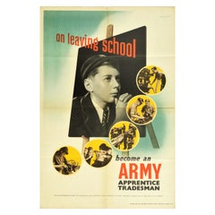 Original Vintage Poster Become An Army Apprentice Tradesman Military Recruitment