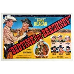 Original Vintage Poster Bedtime For Brezhnev Cold War Political Satire USSR USA