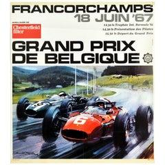 Original Vintage Poster Belgium Grand Prix De Belgique Formula One Auto Racing
