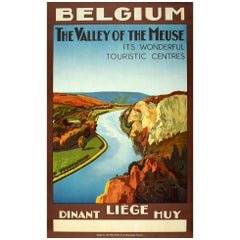 Original Vintage Poster Belgium Valley Of The Meuse Dinant Liege Huy Travel Art