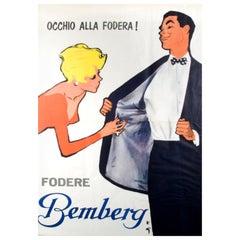 "Original Vintage Poster, 'BEMBERG ""OCCHIO ALLA FODERA' by Rene Gruau"