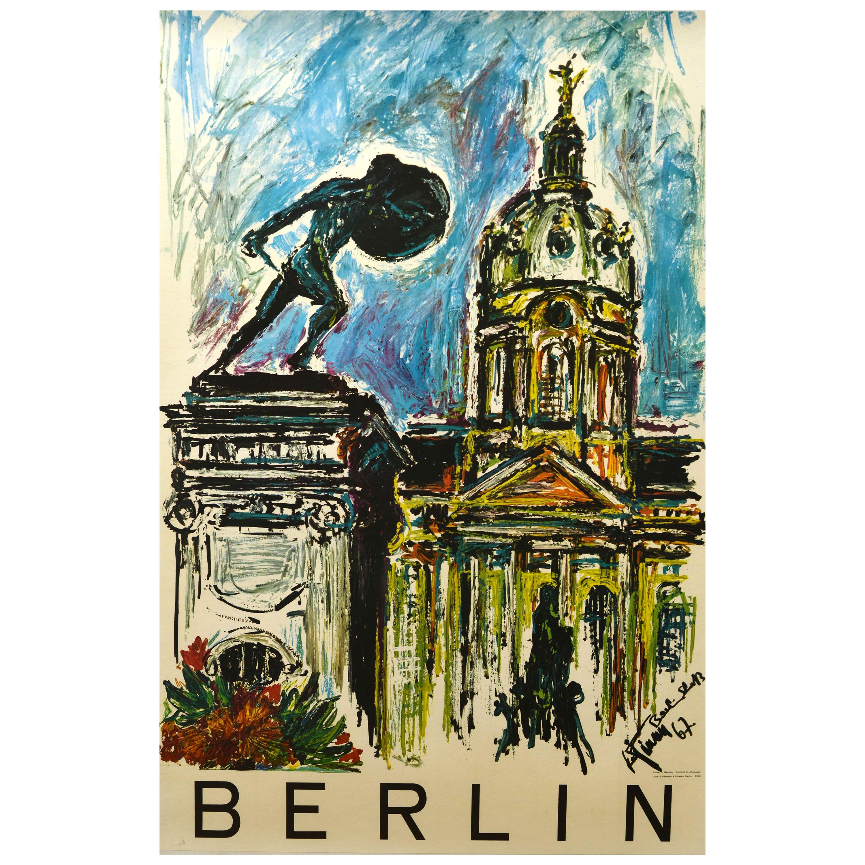 Original Vintage Poster Berlin Germany Charlottenburg Palace Warrior Statue Art