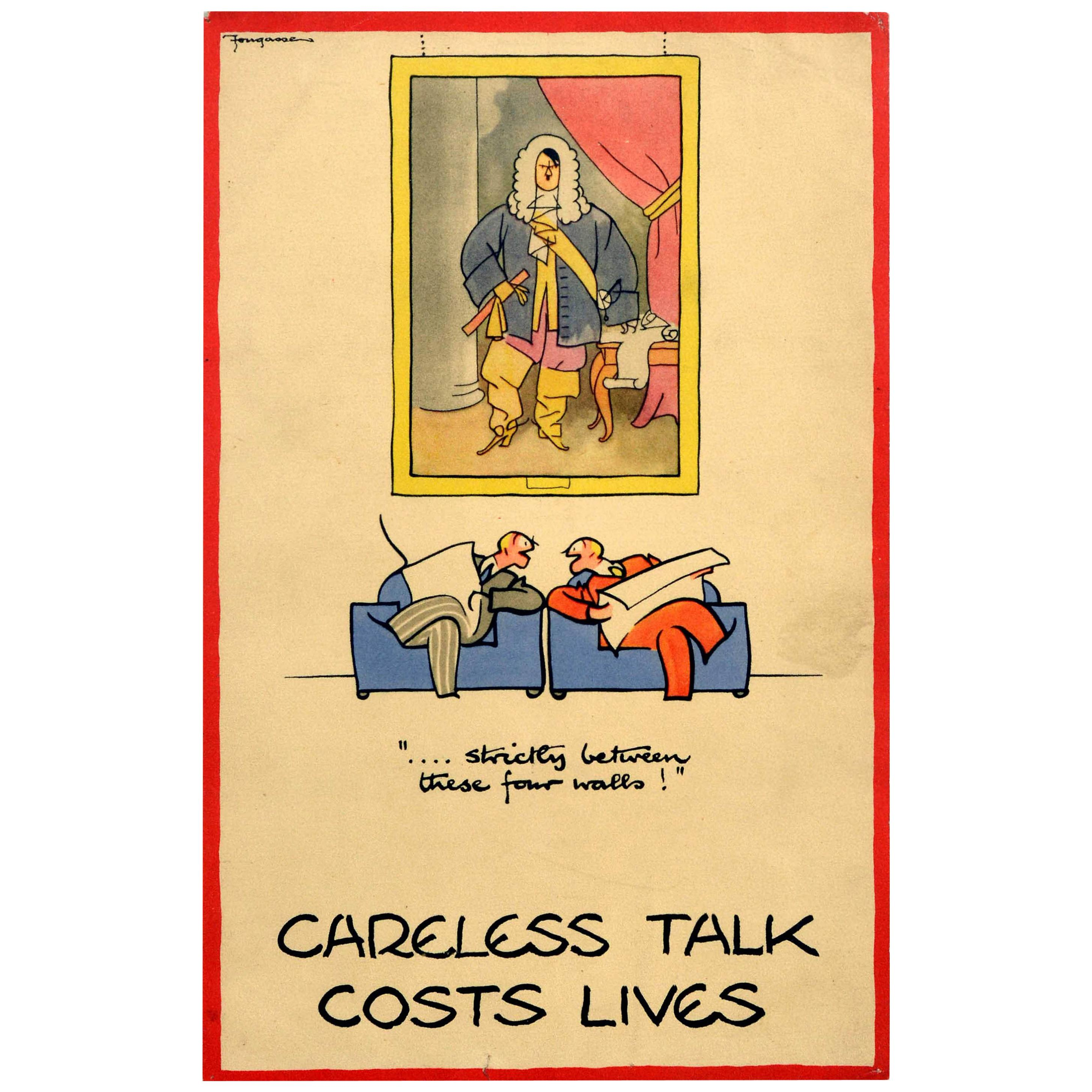 Original Vintage Poster Between These Four Walls Careless Talk Costs Lives WWII