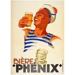 Original Vintage Poster Biere Phenix Beer Sailor Design Drink Advertising Art