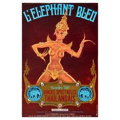 Original Vintage Poster Blue Elephant Bleu Champs Elysees Paris Thai Show Pin Up