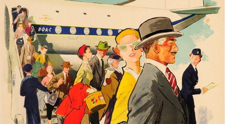 British Original Vintage Poster BOAC Monarch Stratocruiser London To New York & Montreal For Sale