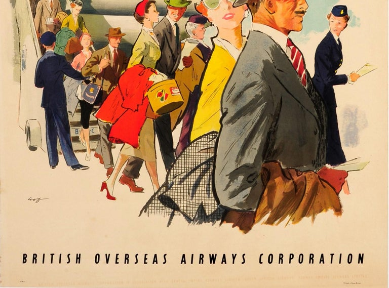 Original Vintage Poster BOAC Monarch Stratocruiser London To New York & Montreal In Good Condition For Sale In London, GB