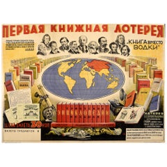 Original Vintage Poster Books Instead Of Vodka USSR Lottery Anti Alcohol Drive