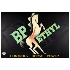 Original Vintage Poster BP Ethyl Controls Horse Power Modernist Art Deco Design