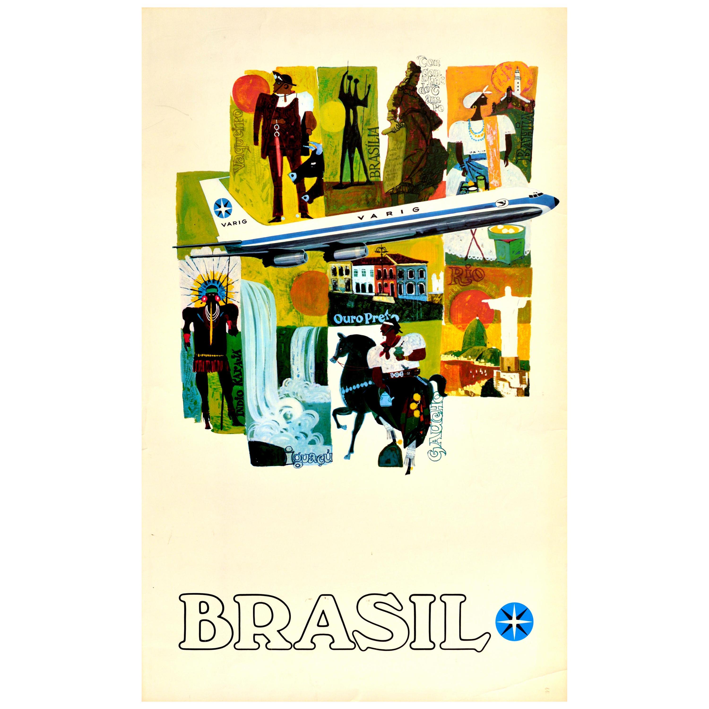 Original Vintage Poster Brasil Varig Travel Culture Brazil Rio Gaucho Waterfall