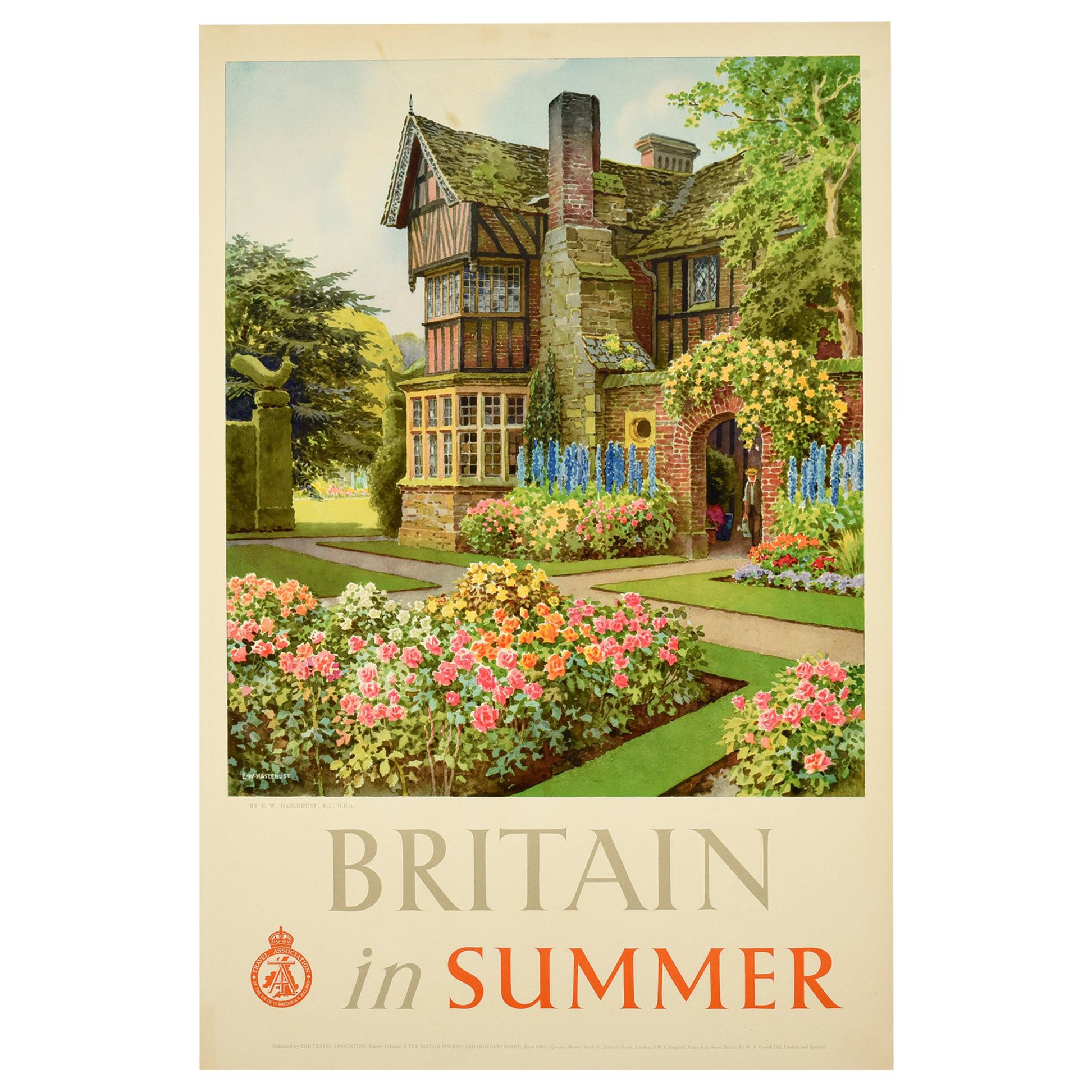 Original Vintage Poster Britain In Summer Travel Country House Landscape Gardens
