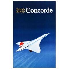 Original Vintage Poster British Airways Concorde Plane Supersonic Air Travel Art