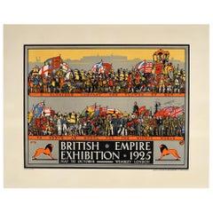 Original Vintage Poster British Empire Exhibition 1925 Wembley London World Tour