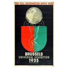 Original Vintage Poster Brussels Universal Exhibition World's Fair Atlas Design