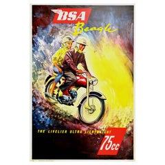 Original Vintage Poster BSA Beagle Motorcycle Art Ultra Lightweight 75cc Engine