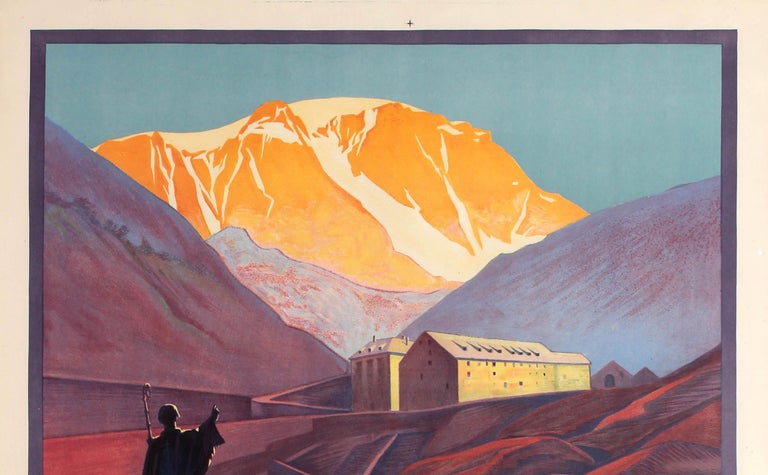 Original vintage PLM travel poster for the historic Col Du Grand St Bernard / Great St. Bernard Pass lying between Mont Blanc and Monte Rosa in the Alps connecting Martigny in Valais Switzerland with Aosta in Italy (a route used since the Bronze