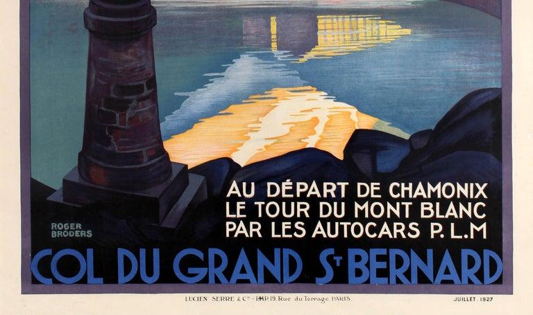 French Original Vintage Poster by Broders Col Du Grand St Bernard Pass Mont Blanc PLM