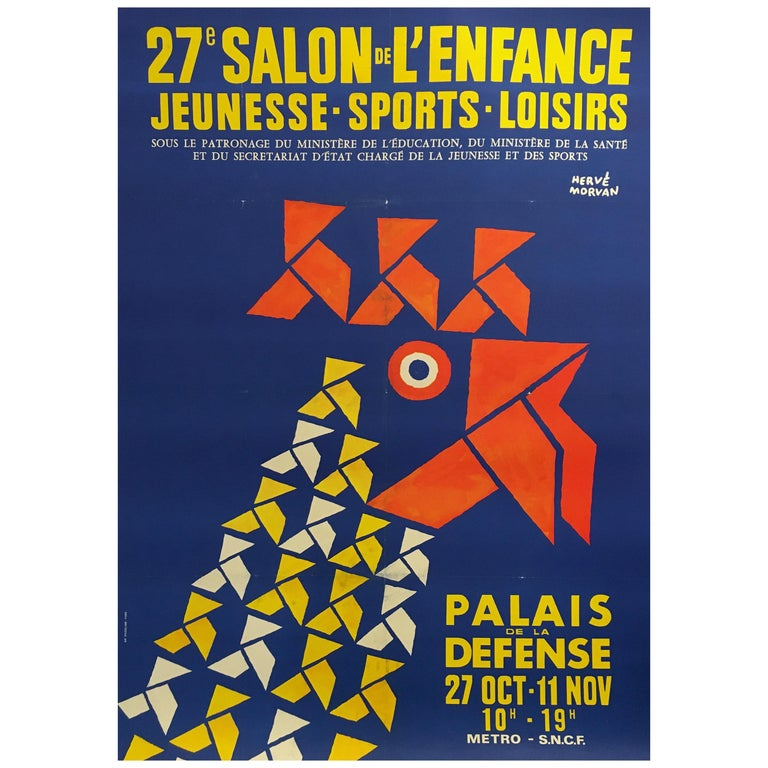 Original Vintage Poster by Herve Morvan, 'Salon De L'enfance' Blue Rooster For Sale