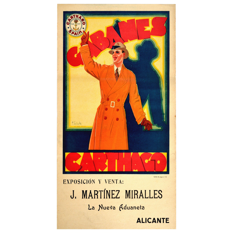 Original Vintage Poster Cabanes Carthago Hats Men's Fashion Exhibition And Sale