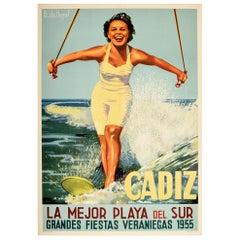 Original Vintage Poster Cadiz Best Beach Great Summer Holidays Water Ski Travel