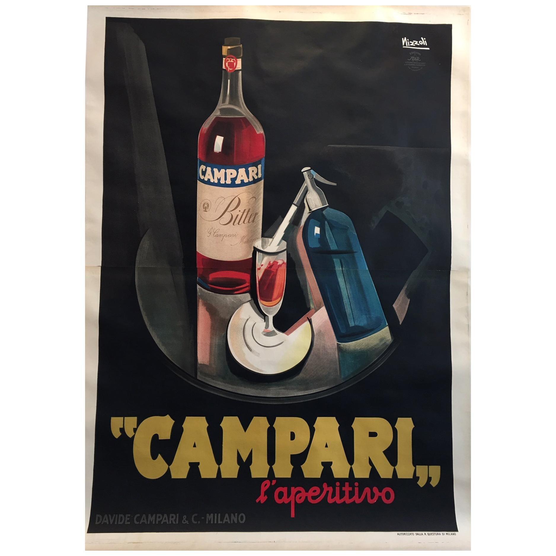 Original Vintage Poster, Campari L'aperitif by Marcello Nizzoli 1927 Lithograph