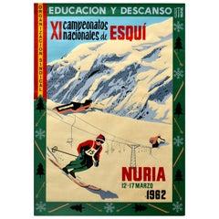 Original Vintage Poster Campeonatos Nacionales De Esqui Nuria Ski Championship