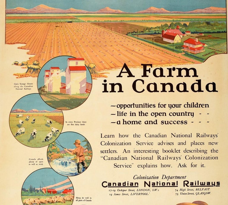 British Original Vintage Poster Canadian National Railways A Farm In Canada Colonization For Sale