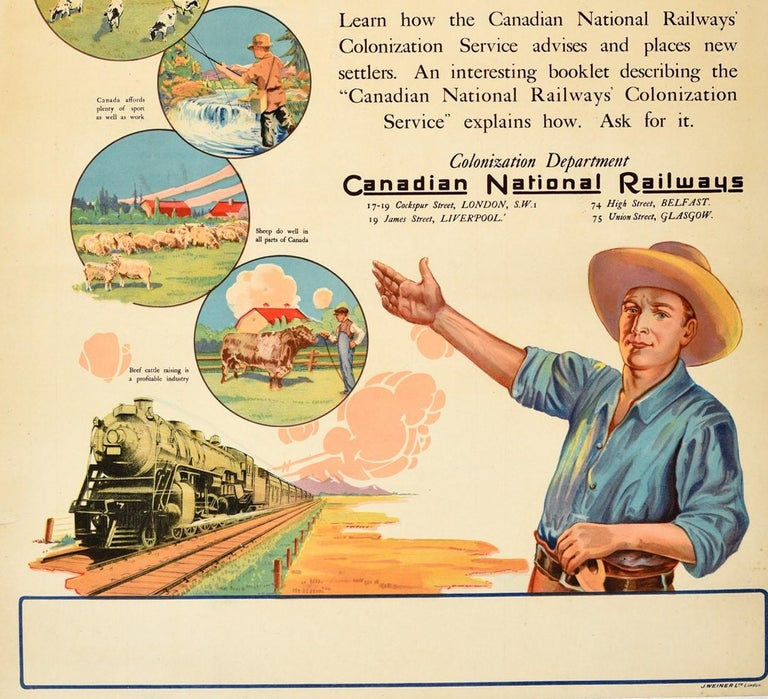 Original Vintage Poster Canadian National Railways A Farm In Canada Colonization In Good Condition For Sale In London, GB