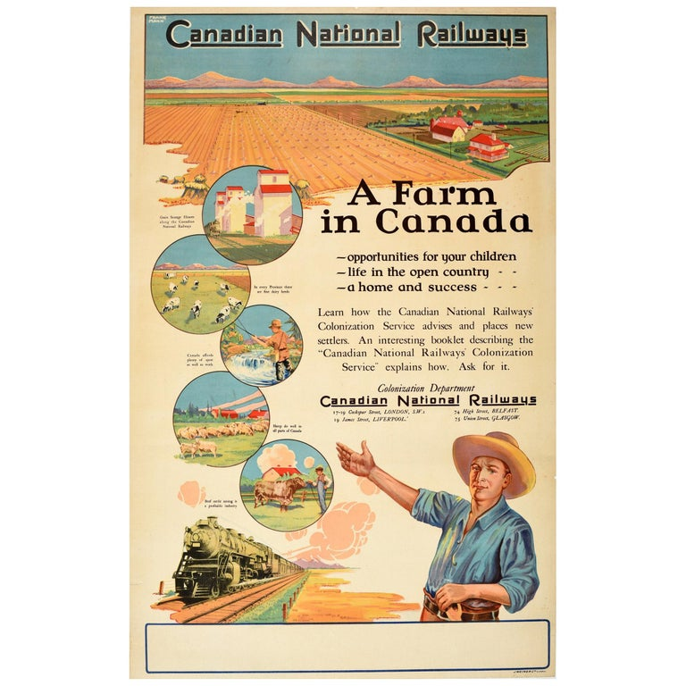 Original Vintage Poster Canadian National Railways A Farm In Canada Colonization For Sale