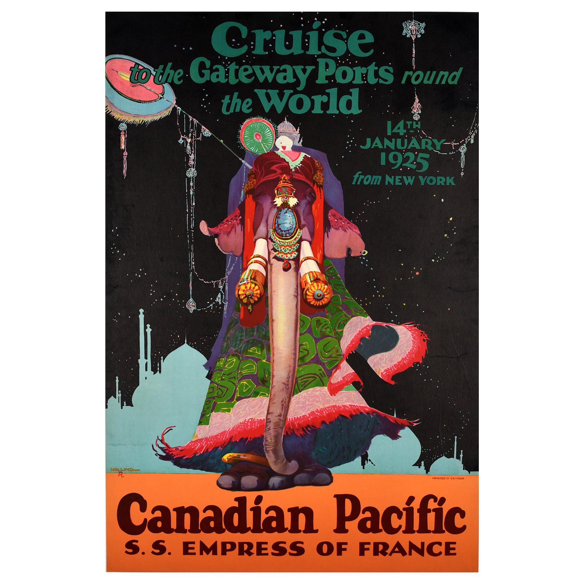 Original Vintage Poster Canadian Pacific World Cruise Empress Of France Elephant