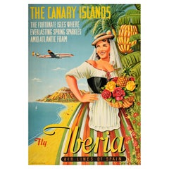 Original Vintage Poster Canary Islands Fly Iberia Airlines Spain Holiday Travel