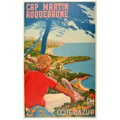 Original Vintage Poster Cap Martin Roquebrune Cote D'Azur PLM Tennis Riviera Art