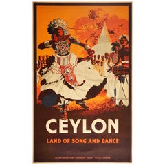 Original Vintage Poster Ceylon Land Of Song And Dance Sri Lanka Asia Travel Art
