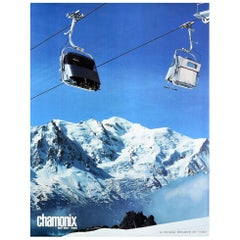 Original Vintage Poster Chamonix Mont Blanc France Index Winter Sport Ski Resort