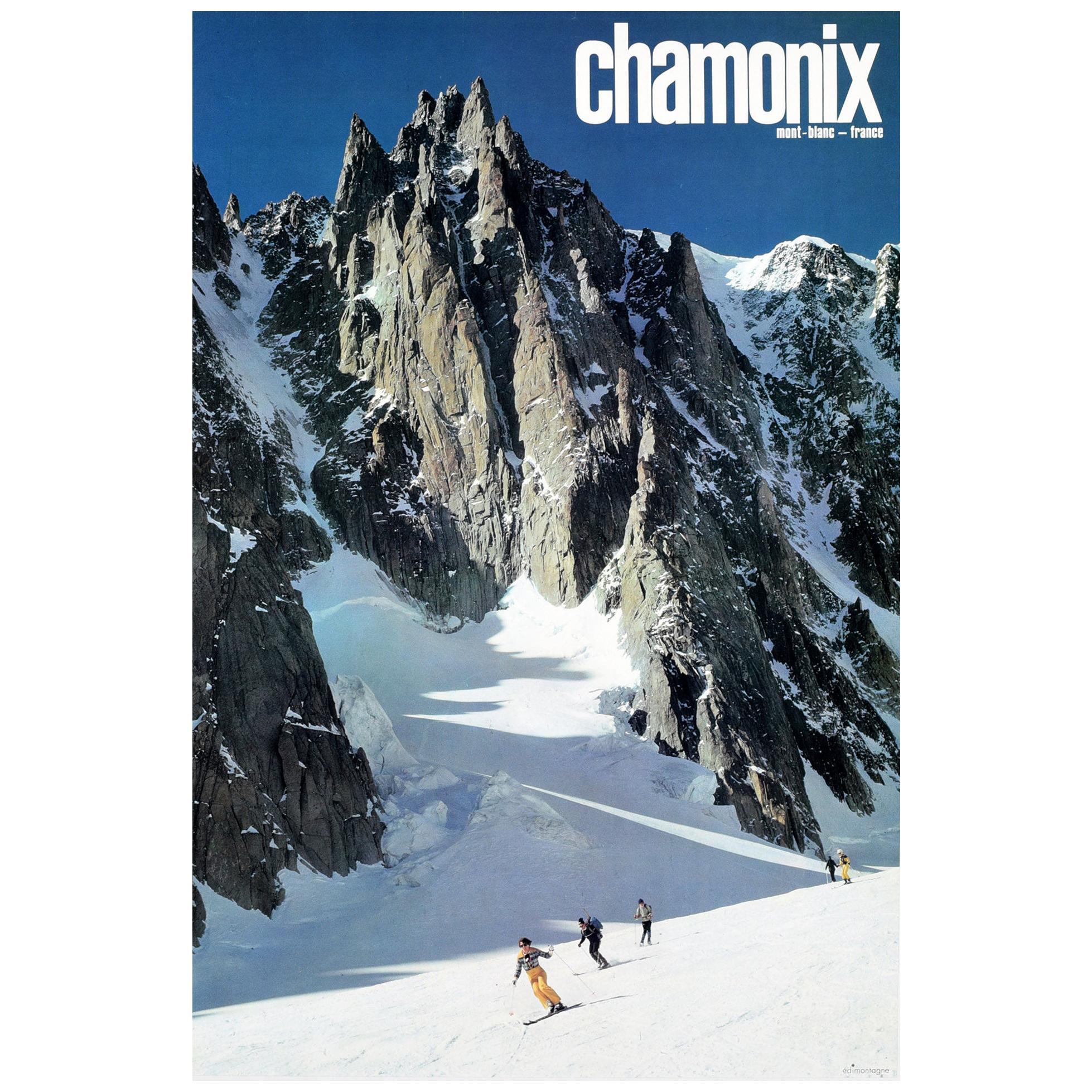 Original Vintage Poster Chamonix Mont Blanc France Skiing Winter Sport Travel