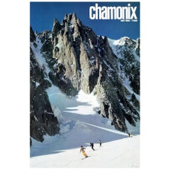 Original Vintage Poster Chamonix Mont Blanc France Skiing Winter Sport Travel