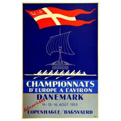 Original Vintage Poster Championnats d'Europe A l'Aviron Rowing Sport Fly By SAS