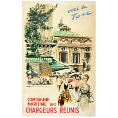 Original Vintage Poster Chargeurs Reunis Cruise Travel Paris Opera Cafe Fashion