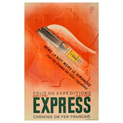 Original Vintage Poster Chemins De Fer Railway Express Train Map Art Deco Design