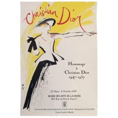 Original Vintage Poster Christian Dior by Rene Gruau, 1987